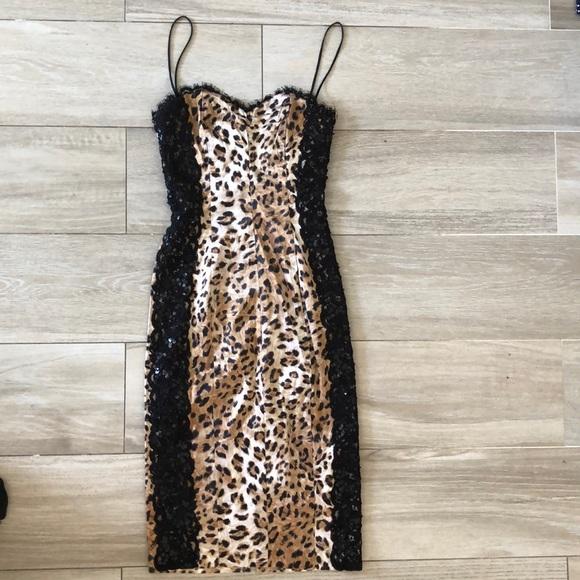 dina bar-el Dresses & Skirts - Silk leopard and lace cocktail dress